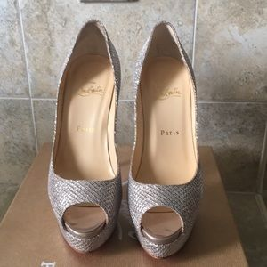 Christian Louboutin Silver Lady Peep Pumps